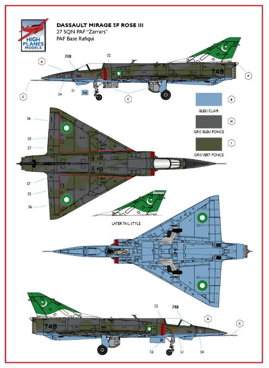 High Planes HPK072114 Dassault Mirage 5F ROSE III Scale Model Kit 1:72