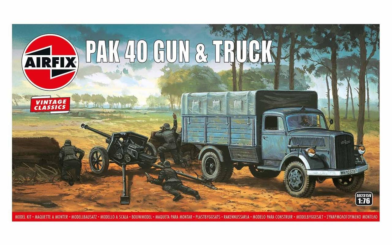 Airfix A02315V Airfix Vintage Classics - PAK 40 Gun & Truck 1:76 Scale