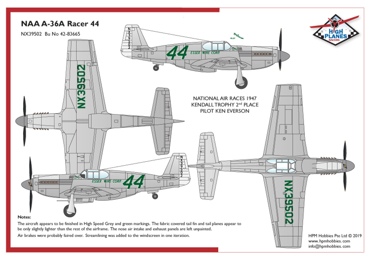 "High Planes North American A-36 Race 44 ""Essex Wire Corp"" 1947 Cleveland Racer Kit 1:48"