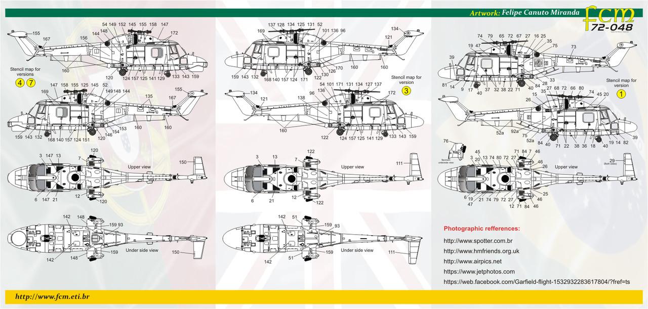 FCM Super Lynx (Brazil/Portugal/England) Decals 1:72 Scale (FCD072048)