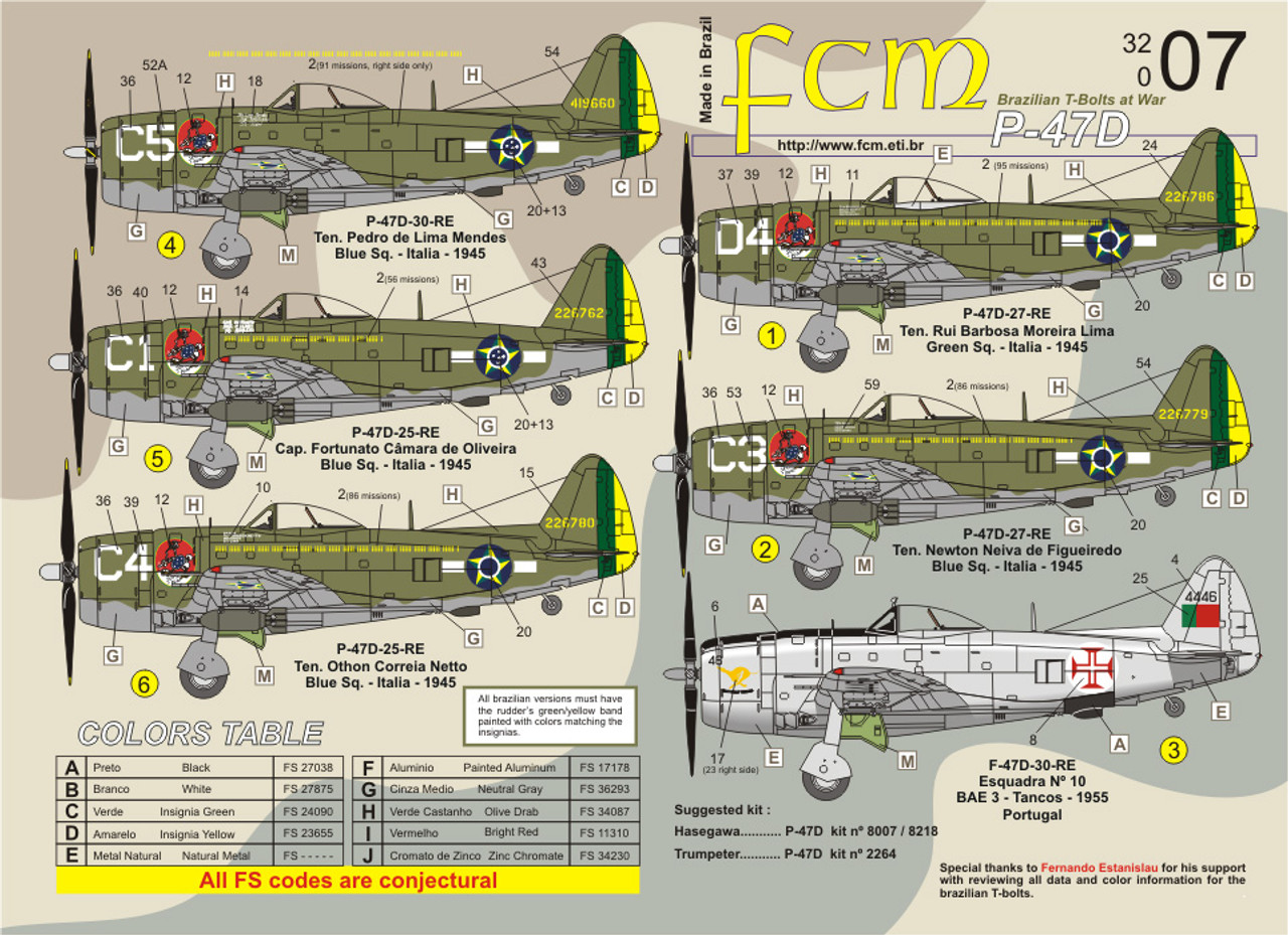 FCM P-47D Brazil (11 versions) - double set Decals 1:32 Scale (FCD032007)