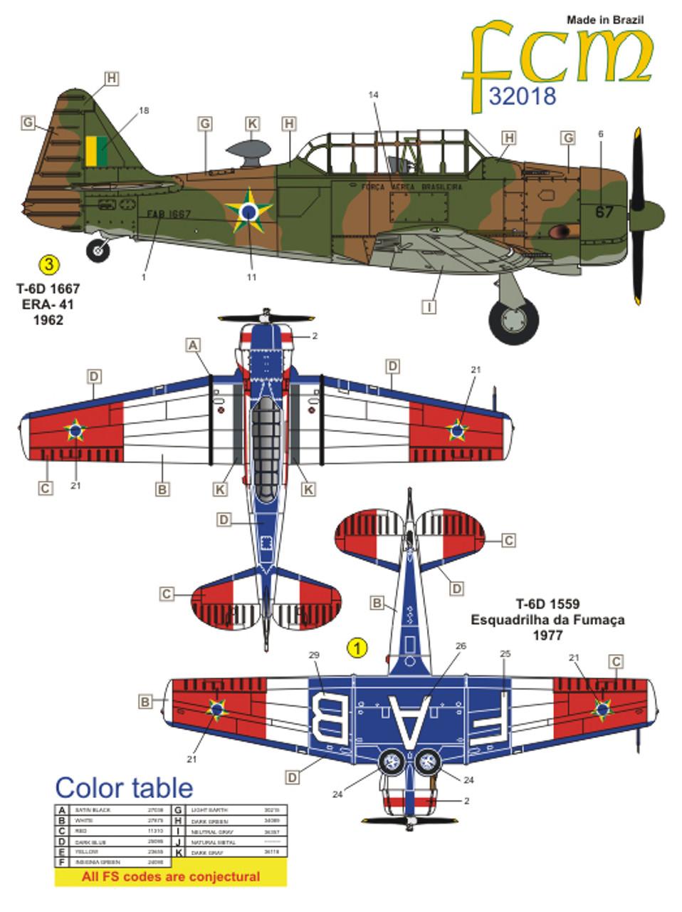 FCM N.A. T-6 Texan - FAB Decals 1:32 Scale (FCD032018)