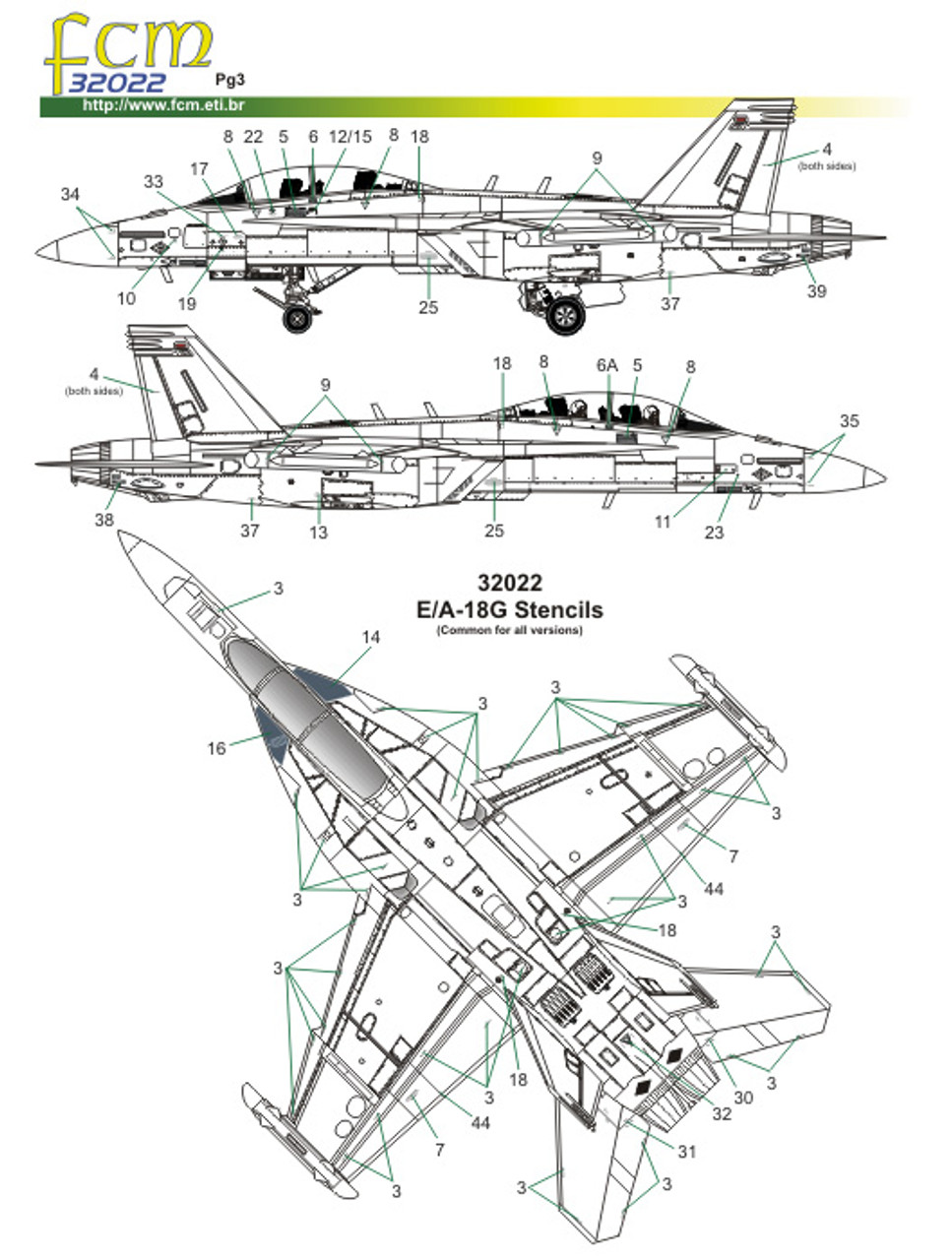 FCM E/A-18G Growler - VAQ-132 Scorpions Decals 1:32 Scale (FCD032022)