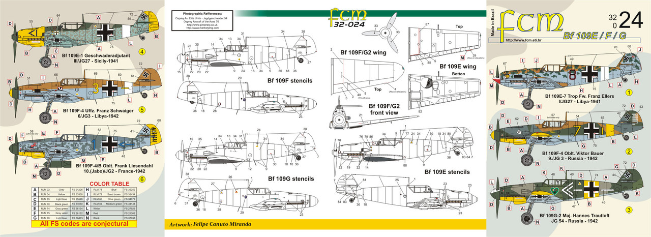 FCM Bf-109 E/F/G (6 versions) Decals 1:32 Scale