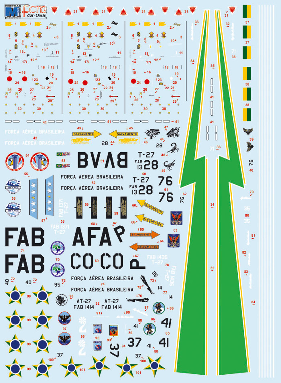 FCM EMB-312 Tucano (Brasil - 11 versions) Decals 1:48 Scale (FCD048055)