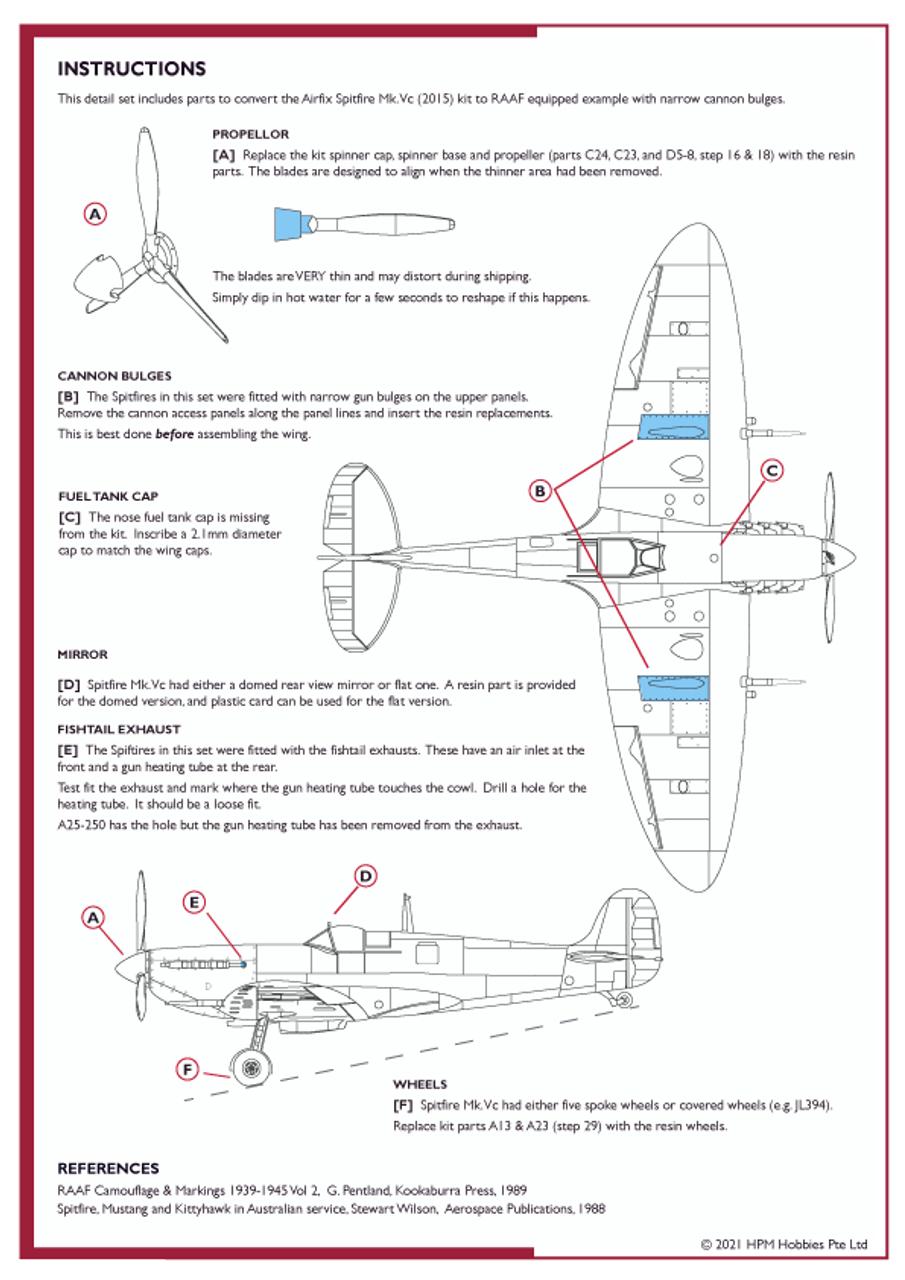 High Planes Plus VS Spitfire Mk.Vc RAAF Defence of Australia Detail Set Accessories 1:72 (HPL072015)