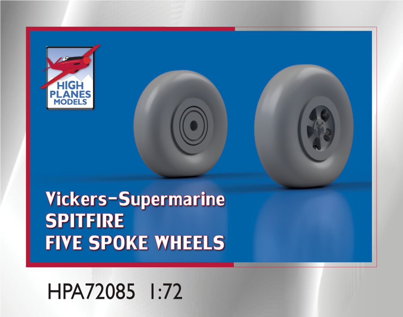 High Planes V-S Spitfire Five Spoke Wheels 1:72 Accessories (HPA072085)