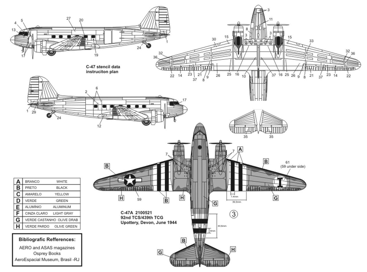 FCM C-47 Skytrain Brazil and USAAF Decals 1:72