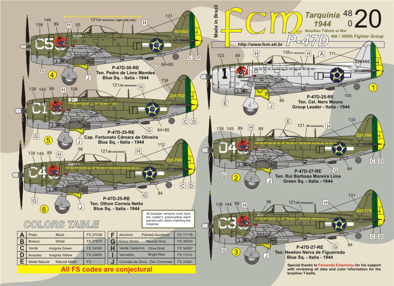 FCM Brazilian P-47 Thunderbolts Jambock Squadron Decals 1:48 (FCD048020)