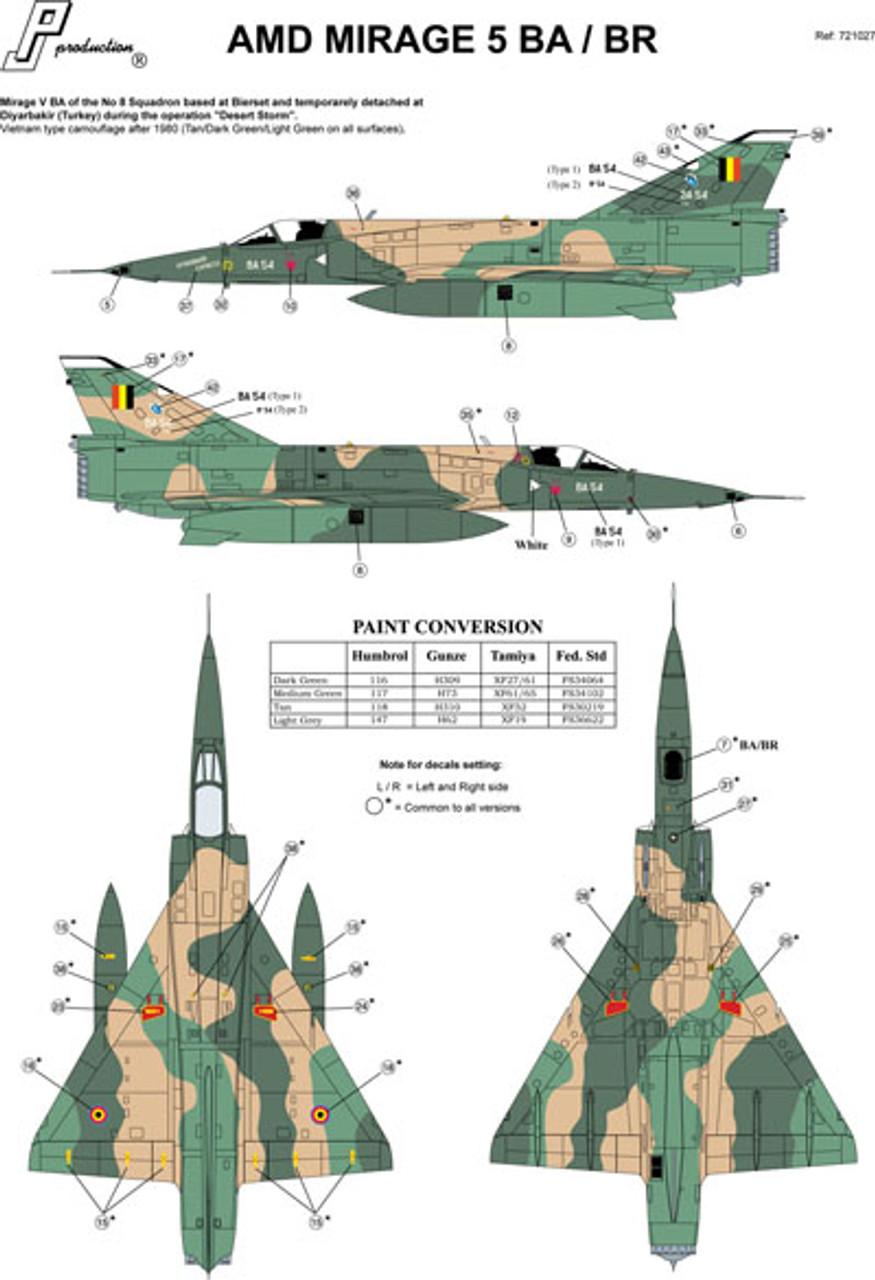 PJ Productions Dassault Mirage V BA/BR Kit 1:72