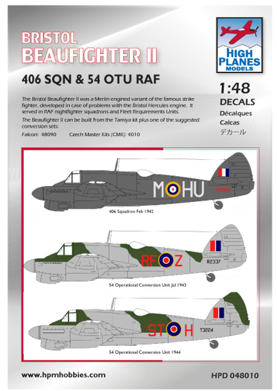 Falcon Bristol Beaufighter II with High Planes Decals Kit 1:48