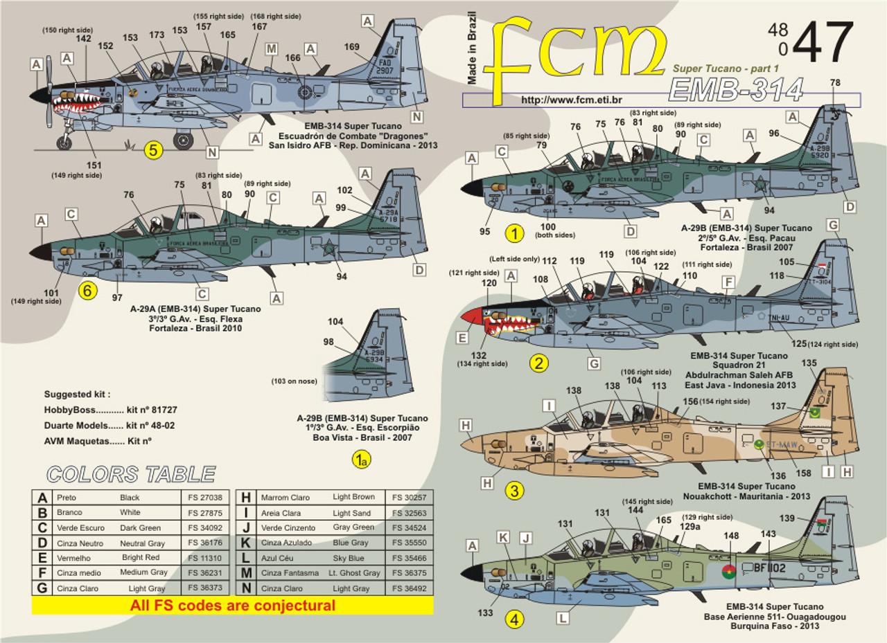 FCM Decals EMB-314 Super Tucano