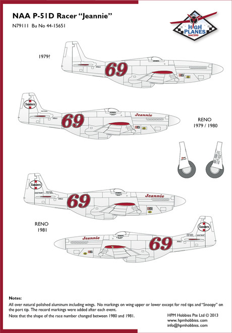"""High Planes P-51D Mustang """"Jeannie"""" Racer Kit 1:72 (HPR072028)"""
