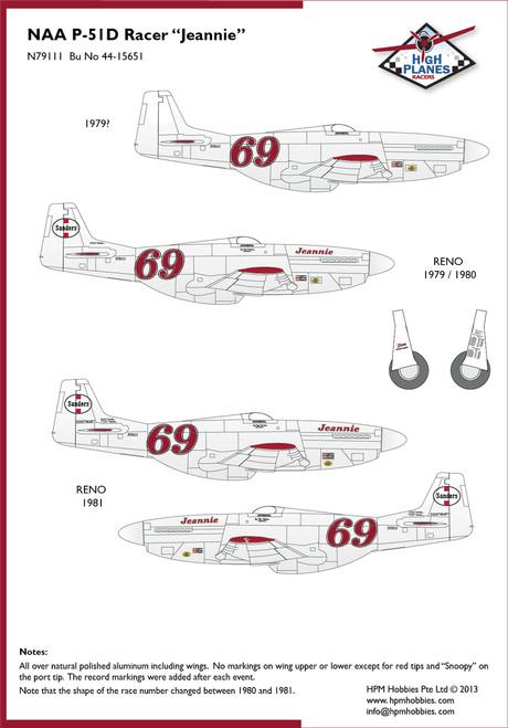 "High Planes P-51D Mustang ""Jeannie"" Racer Convrsion 1:48 (HPR048018)"