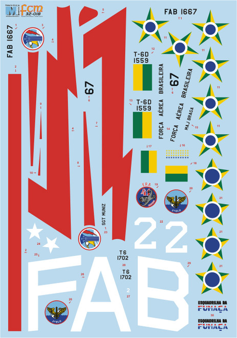 FCM N.A. T-6 Texan - FAB Decals 1:32 Scale (FCD032018)