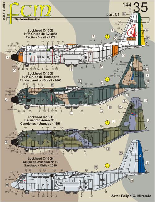 FCM C-130 - Brasil, Uruguay, Chile & Oman Decals 1:144 Scale (FCD14435)
