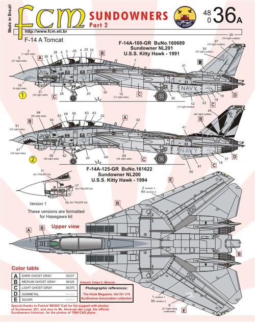 FCM F-14A Tomcat Sundowners Part 2 Decals 1:48