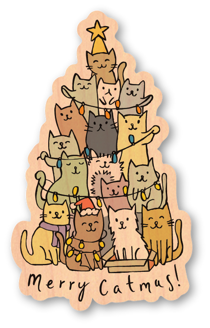 Merry Catmas! Maple Wood Sticker