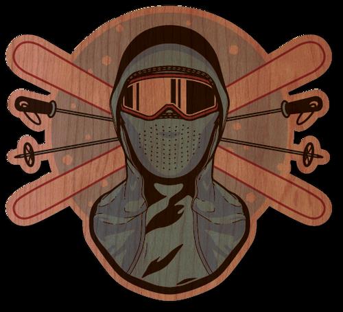 Ski Mask & Goggles Cherry Wood Sticker