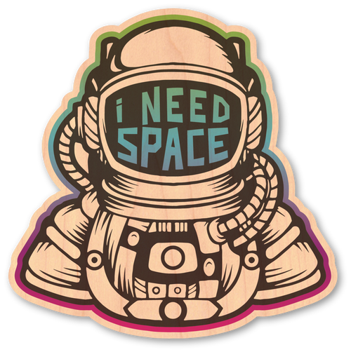 I Need Space Maple Wood Sticker