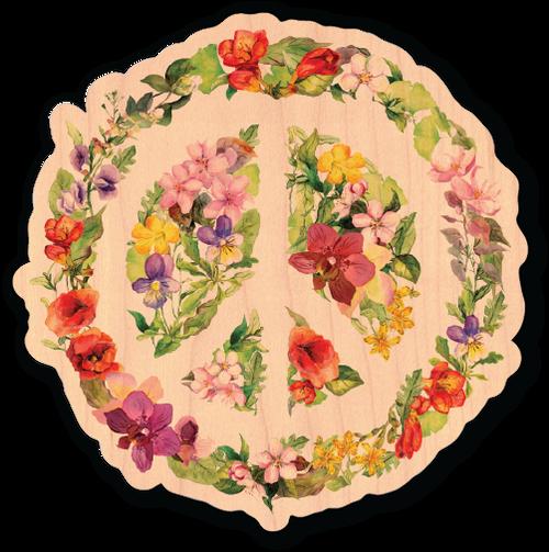 Flower Peace Maple Wood Sticker