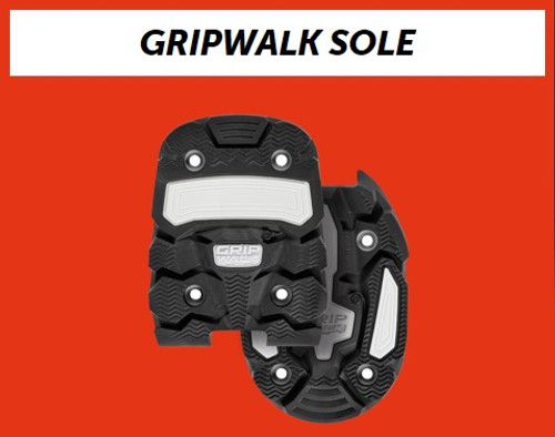 INCREASED WALKING COMFORT, MORE SAFETY WHEN WALKING AND SUPERB SKI PERFORMANCE  Walking in ski boots can be a rather slippery on some surfaces.  But the new GripWalk sole and binding system turns a conventional ski boot into a real performance miracle . This is particularly achieved by the excellent grip, rounded high profile soles and the GripWalk binding components perfectly tailored to them. Made of a new type of co-polymer rubber material, the convex rib delivers outstanding walking comfort and superb grip on slippery surfaces.  In addition, the sole pads, which can be replaced separately, ensure perfect power transfer around the toes and heel as well as a precise release. As long as you use an original GripWalk binding or a 100% compatible touring binding which you can identify by the official GripWalk logo. Sadly, conventional Alpine bindings without a logo are not compatible.