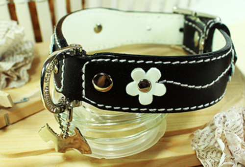 Genuine Italian Leather Collar- Lucy Flower