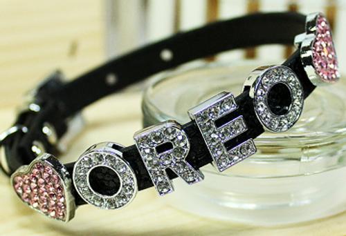Personalizable Collar Collection-Foxy Glitz Black