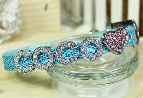 Personalizable Collar Collection- Foxy Glitz Blue