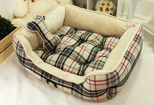 Junior Checker Bed Creamy Beige