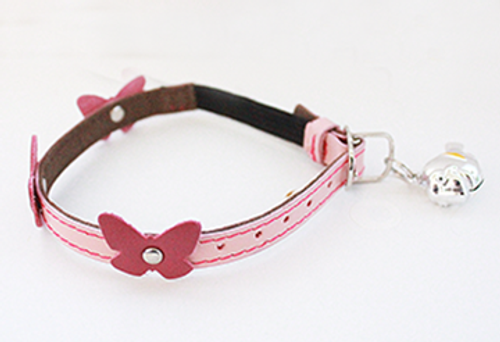 Genuine Italian Leather Collar- Pink Papillon