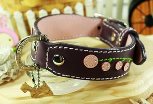Genuine Italian Leather Collar- Cherry Blossom