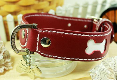 Genuine Italian Leather Collar- Red&White Bone