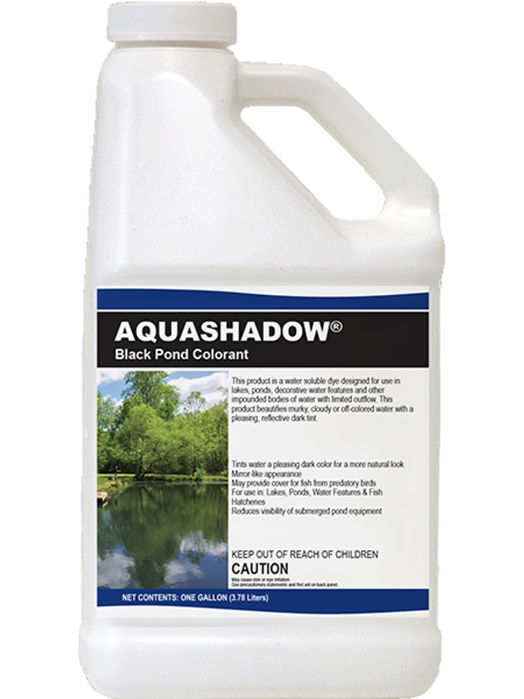 Aquashadow Black black pond dye tints the water a pleasing dark color, beautifying cloudy water. For use in lakes, ponds, & decorative water features with little or no outflow.