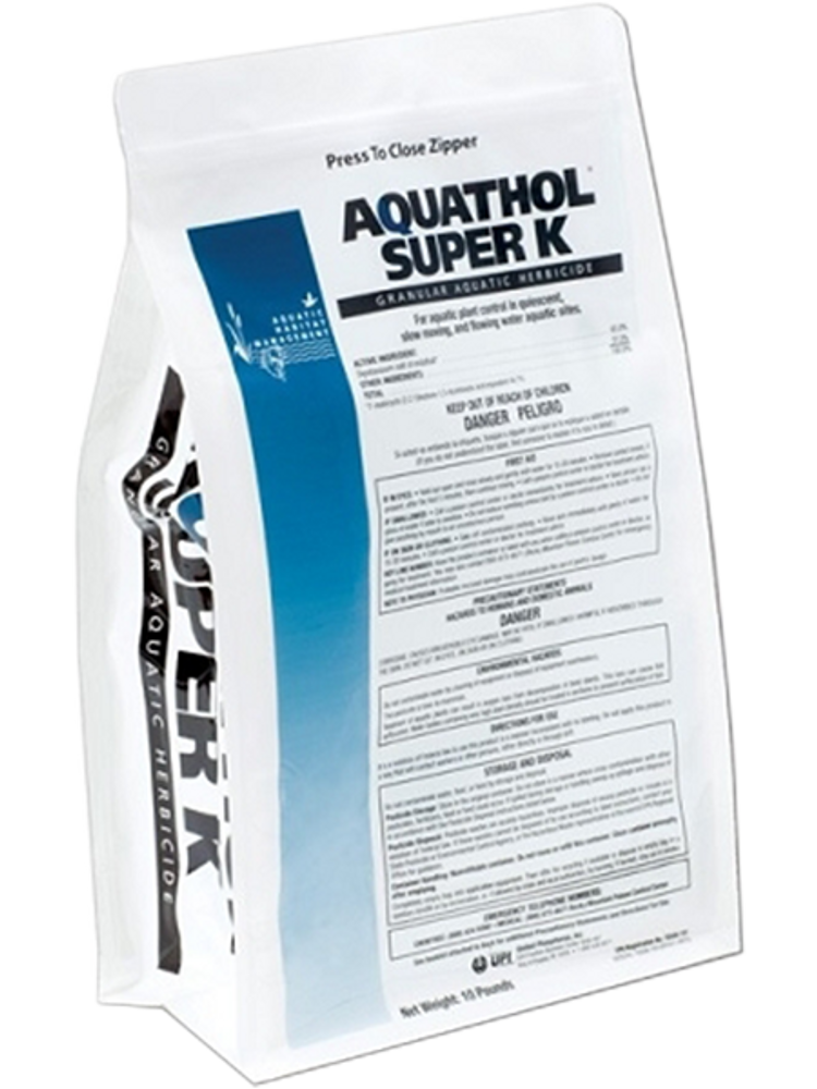 Aquathol Super K controls submersed weeds in lakes and pond in both still and slow moving water.