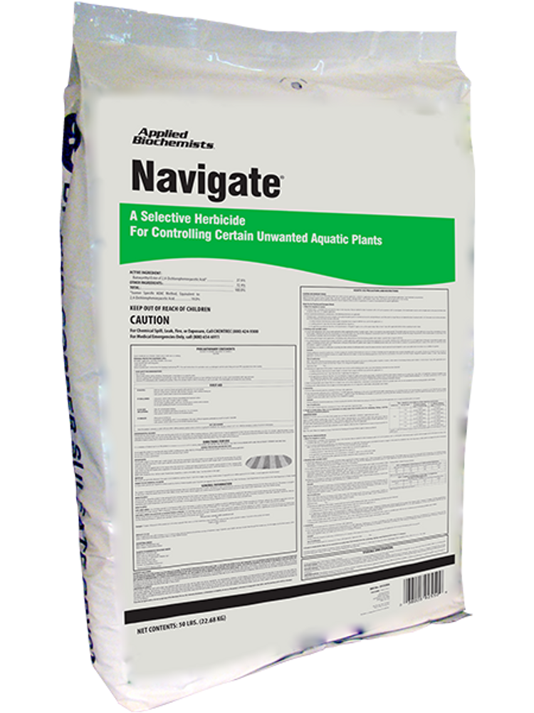 Navigate is an aquatic granular formulation of 2, 4-D, and is formulated on special heat-treated granules that resist rapid decomposition in water, sinks quickly to lake or pond bottoms, and releases the weed-killing active ingredient into the critical root zone area.