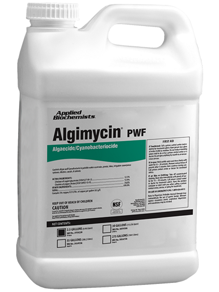Algimycin is an acidified, water-soluble copper-based algaecide used to control planktonic algae and cyanobacteria. The perfect algaecide for your pond!