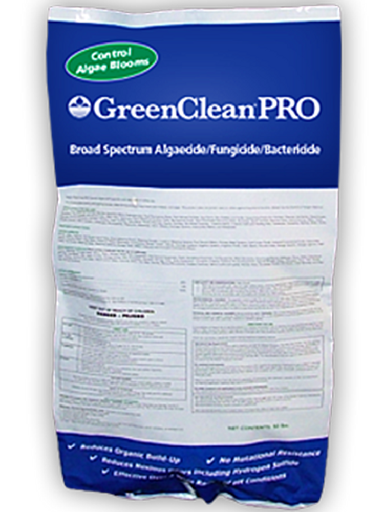 Eliminate algae with GreenCleanPRO. GreenCleanPro is a professional-strength granular algaecide that eliminates a broad spectrum of algae on contact.