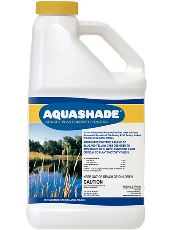 Aquashade is a blend of blue & yellow dyes to create sparkling blue water. Aquashade shades specific portions of the sunlight spectrum required for underwater aquatic plant & algae growth.