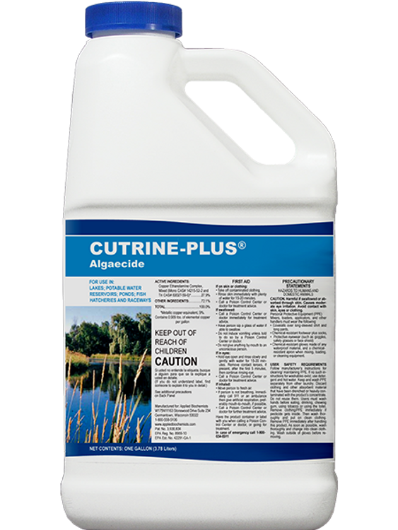 Cutrine Plus algaecide is a double-chelated copper solution effective against a wide variety of algae species. Due to its double-chelate it stays in the water column longer and in combination with its greater amount of activity in the plant, can be much more effective.