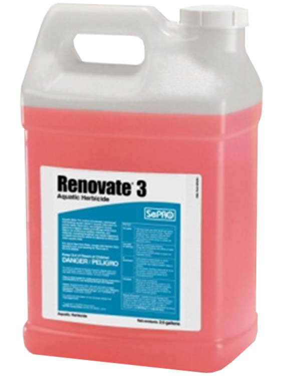 Renovate 3 (liquid) is an aquatic systemic herbicide labeled for control of submersed, emersed, and floating plants in and around aquatic sites such as ponds, lakes, and wetlands.