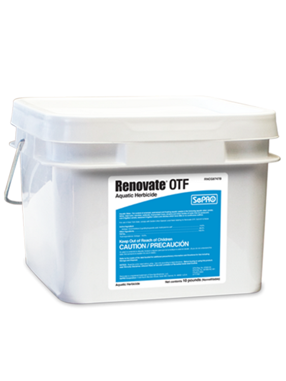 Renovate OTF (granular) is an aquatic herbicide labeled for control of submersed, emersed, and floating plants in and around aquatic sites such as ponds, lakes, reservoirs, & non-irrigation canals.