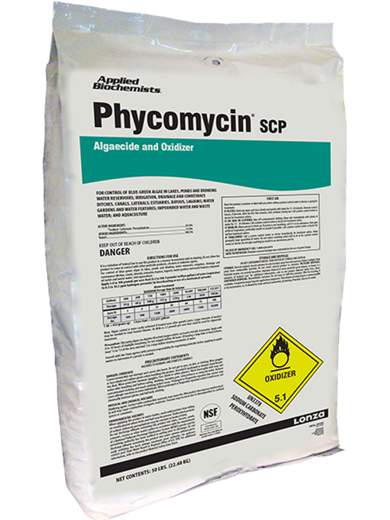 Phycomycin is a granular algaecide that eliminates a broad spectrum of algae on contact through a powerful oxidation process. This product is perfect for your pond!