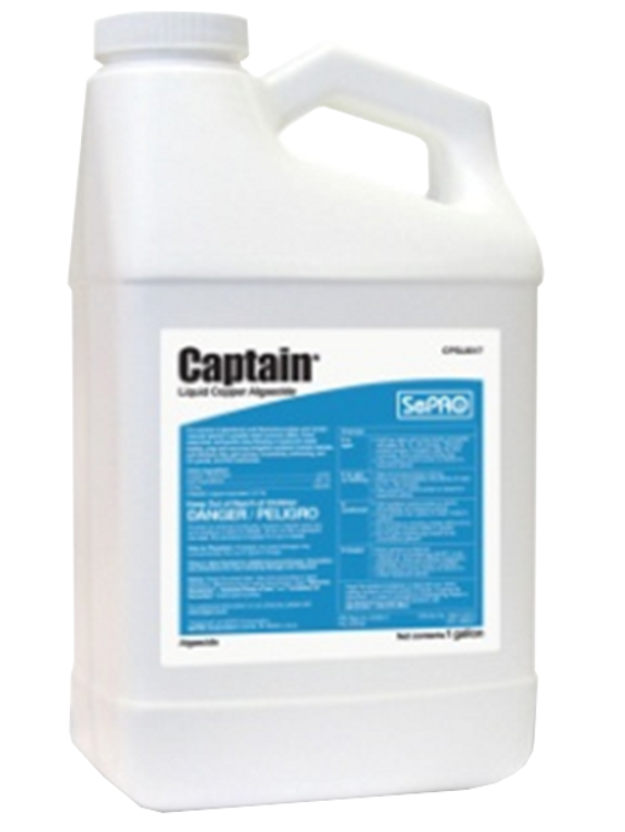 Captain is a premium chelated copper algaecide that provides economical and effective control of algae in irrigation ponds and canals.