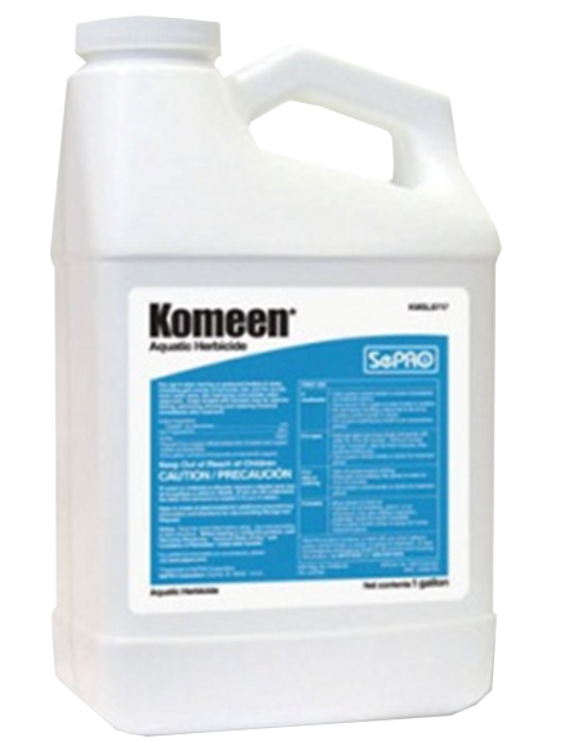Komeen is a liquid herbicide effective against copper sensitive aquatic plants. Komeen may be tank mixed with other herbicides for control of a broader weed spectrum.