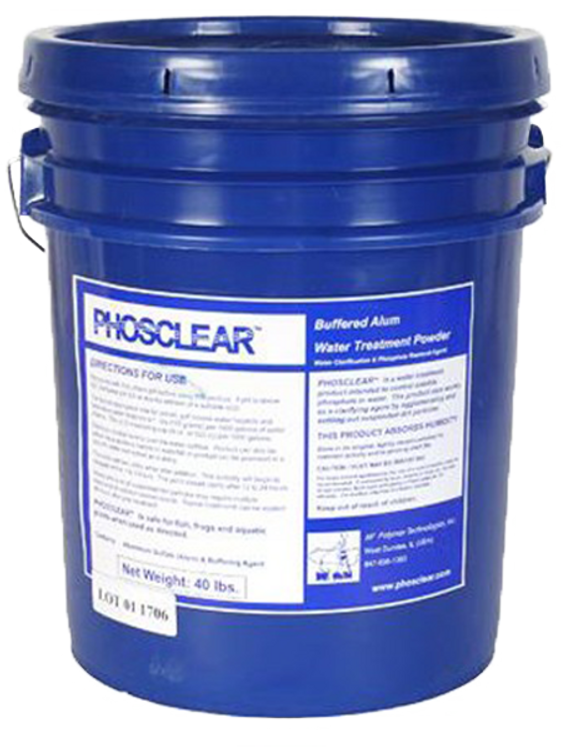 Phosclear is a buffered alum product that will clarify water by and control phosphorus. This is the perfect product for your pond!