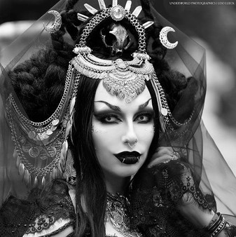 Wiccan moon headdress with braids and black veil