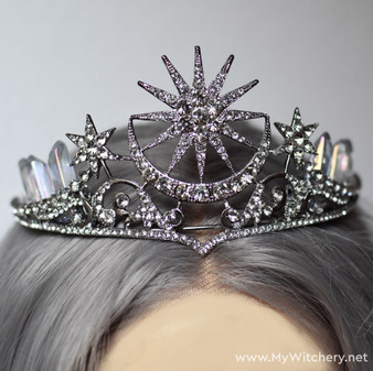 Morning star and moon crystal tiara for gothic wedding