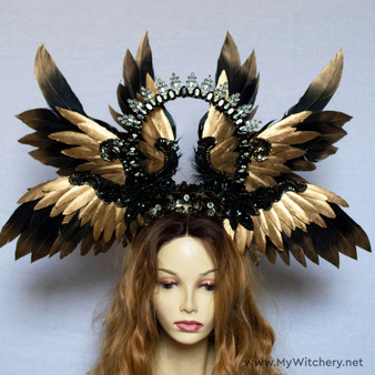 Baroque carnival feather headpiece with rhinestone halo and filigree crown