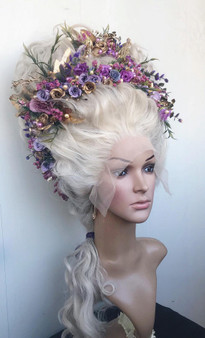 Marie-Antoinette wig - Rococo styled wig with flowers - 18th century wig